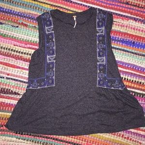 Free People Marcy Embroidered Tank NWOT